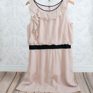 ANN TAYLOR LOFT blush pink sleveless ruffle dress